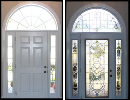 before after decorative door glass